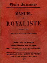 F.Baconnier. Manuel du Royaliste. Gazette de France, 1903