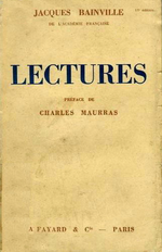 J.Bainville. Lectures. Edt Fayard, 1937