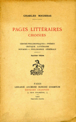Charles Maurras. Pages littéraires choisies. Edt Champion,1922